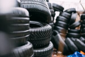 A stack of used tires.